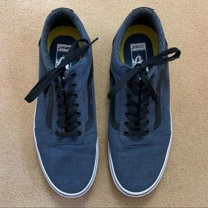 Vans navy canvas sneakers with leather stripe